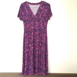 LL Bean Summer Knit Dress Short Sleeve Paisley